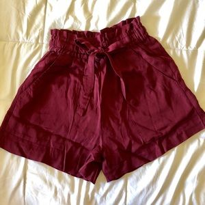 High waisted burgundy shorts BRAND NEW